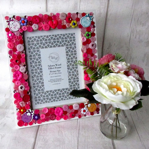 Hand-decorated Button Photo Frame