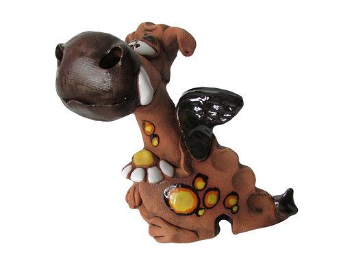 Ceramic Brown Nose Dragon Incense Cone Burner