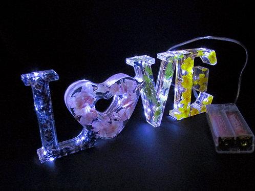 Resin Floral  LOVE  Sign LED light