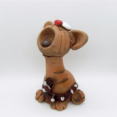 Ceramic Yarning Cat figurine