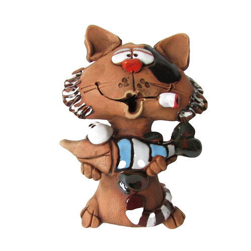 Ceramic Cat with a Fish Incense Cone Burner