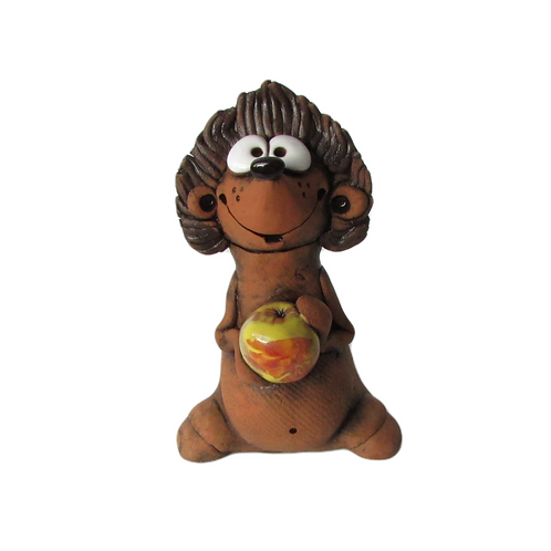 Ceramic Hedgehog with an Apple Figurine
