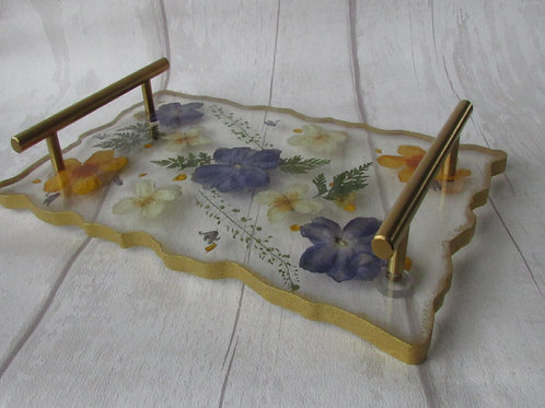 Handmade Resin Floral Tray/Stand with handles