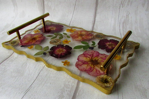 Handmade Resin Floral tray with handles