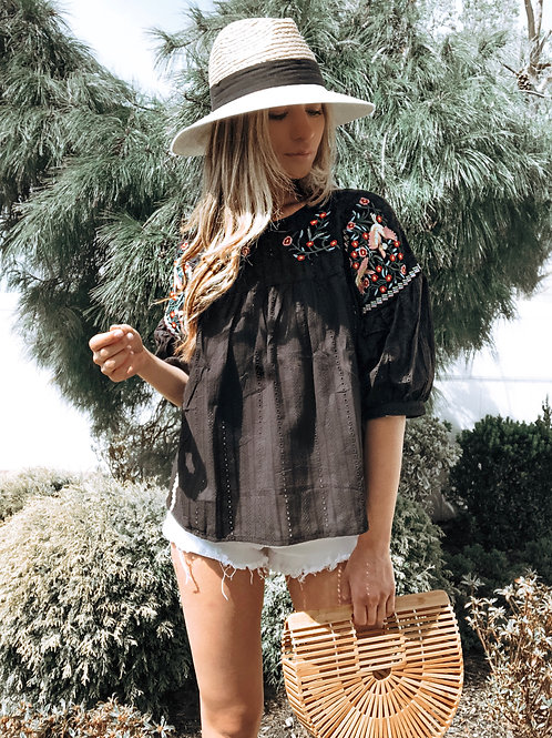 Hamptons Embroidered Blouse- Black
