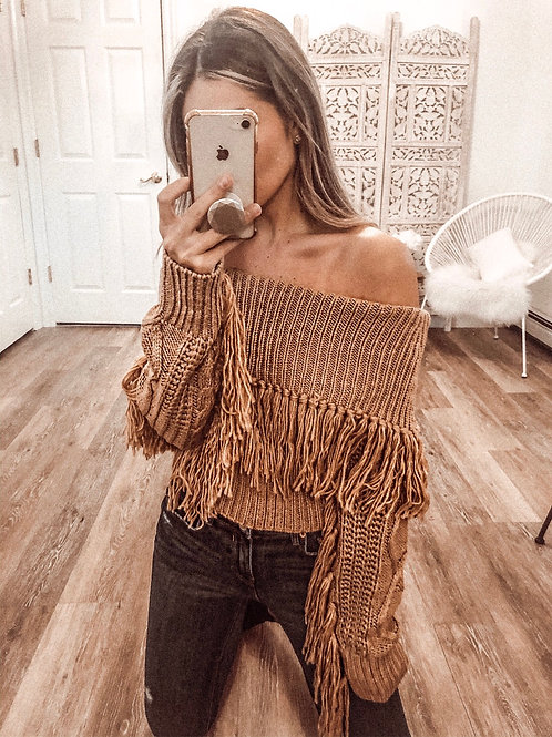 Ria Cold Shoulder Fringe Sweater