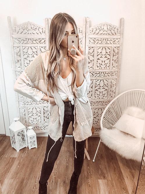 Mesh Linen Zip Up Jacket