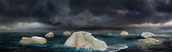 """7 small """"islands"""" made of cloth in a dark body of water, with a dark grey, stormy sky"""
