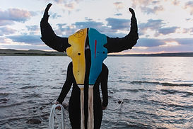 Person with colorful animal mask covering their face, standing in front of body of water