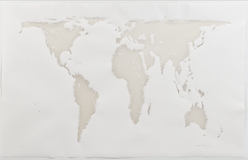 Distorted 7 continents pressed into white paper