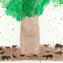 Tree trunk surrounded by several animals