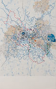 Map-like drawing with colorful zigzagging lines