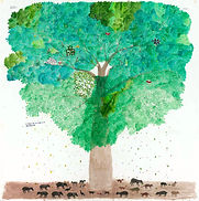 Leafy green tree with small animals on brown ground below it
