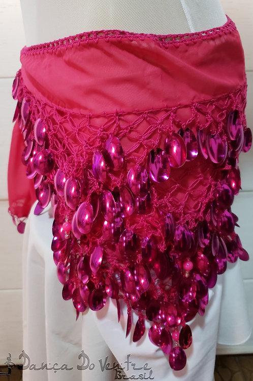 Lenço Bordado Crochê e Paetês Pink