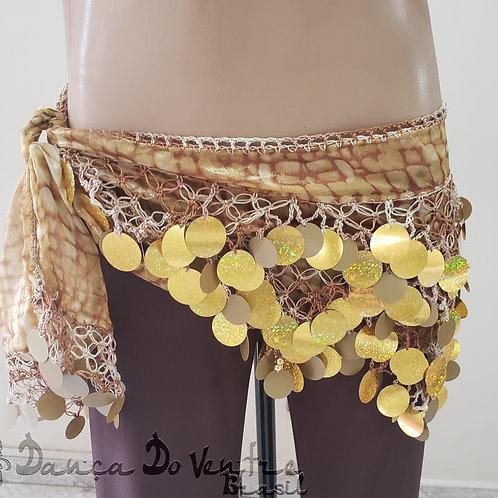 Lenço Bordado Crochê e Paetês Dourado Mesclado