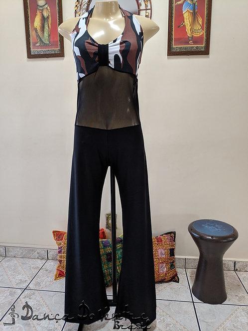 Macacão com tela - Preto/Camuflado