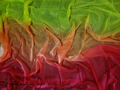 Véu de Seda - Importado - Vermelho,laranja e amarelo