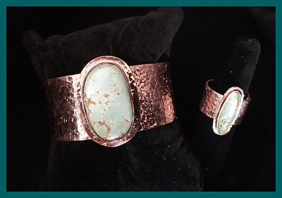 Turquoise & Copper Bracelet & Ring Set