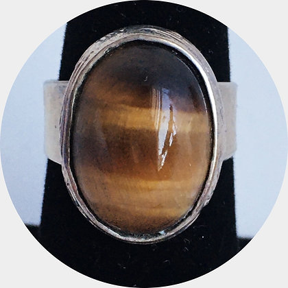 Lg. Tiger Eye Silver Ring