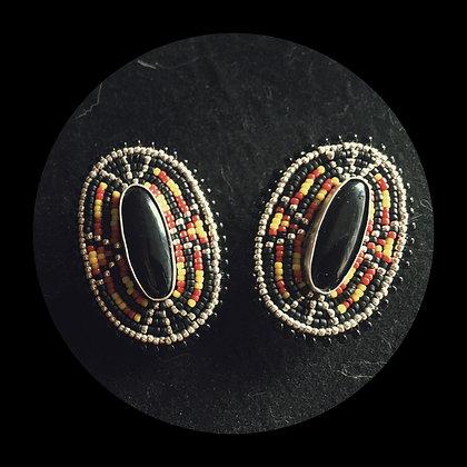 Navajo Inspired Rosette Onyx Earrings