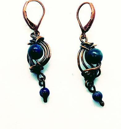 Copper Lapis Lazuli Earrings