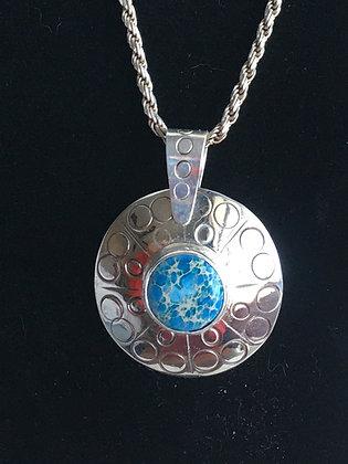 Blue Sea Jasper Disk Necklace