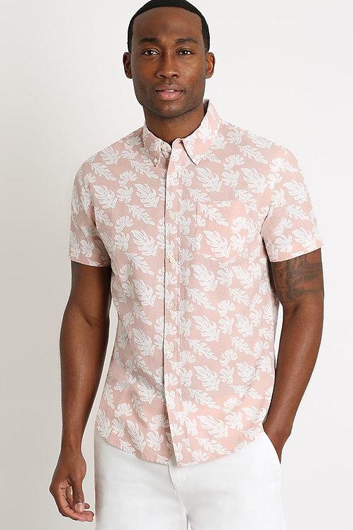 Floral Print Seersucker Short Sleeve Shirt
