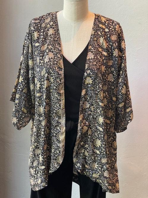 Metallic Print Kimono Jacket