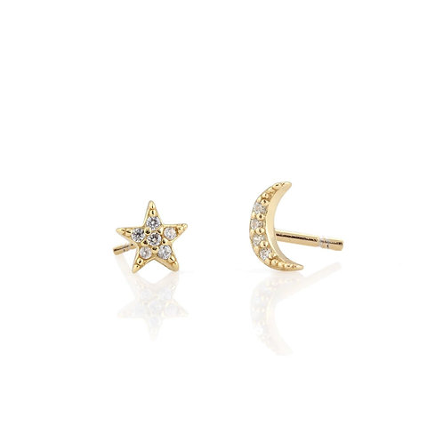 Star and Moon Pave Studs