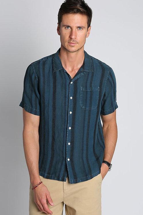 Indigo Stripe Linen Short Sleeve Camp Shirt
