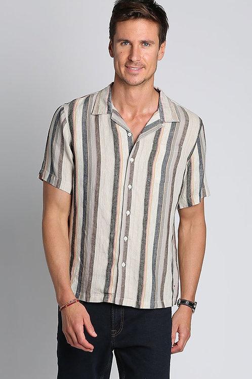 Tan Stripe Linen Short Sleeve Camp Shirt