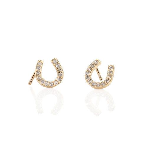 Horseshoe Pave Charm Earrings