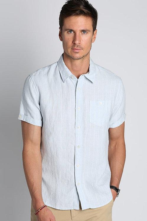 Blue Stripe Linen Short Sleeve Shirt