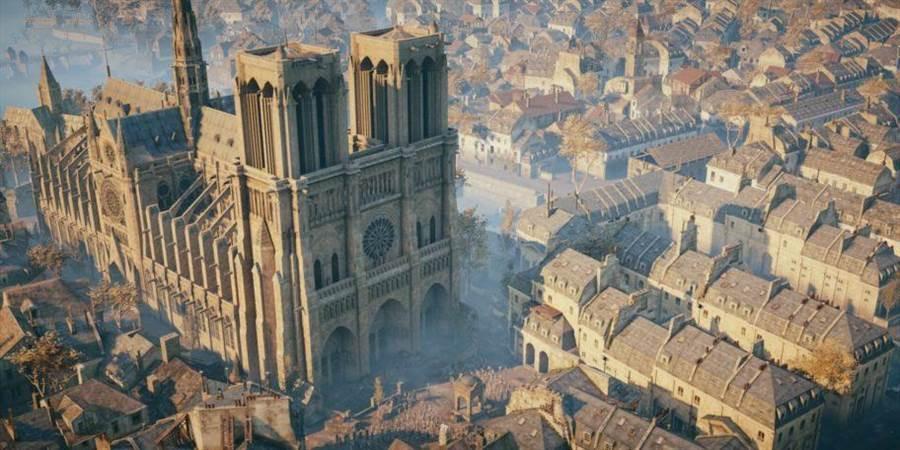 Ubisoft推出的遊戲《刺客教條:大革命》中保存巴黎聖母院高精度建模。圖片來源/Ubisoft Official Website