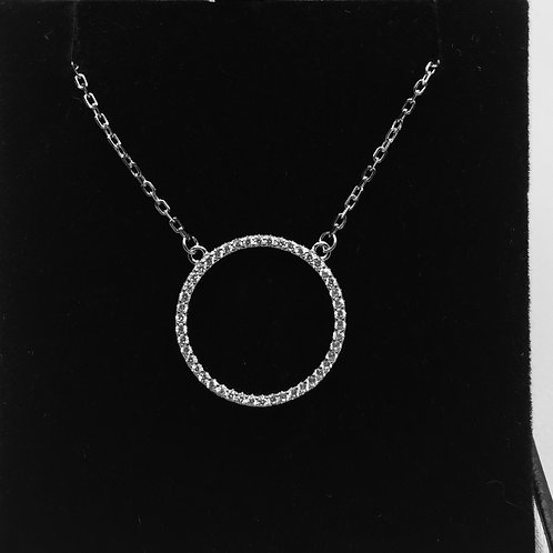 925 Sterling silver and Cubic Zirconia  Round Pendant