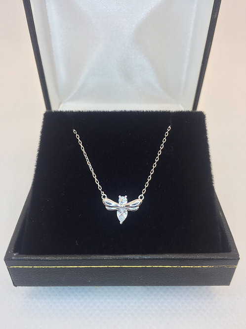 925.Sterling Silver and Cubic Zirconia insect Pendant