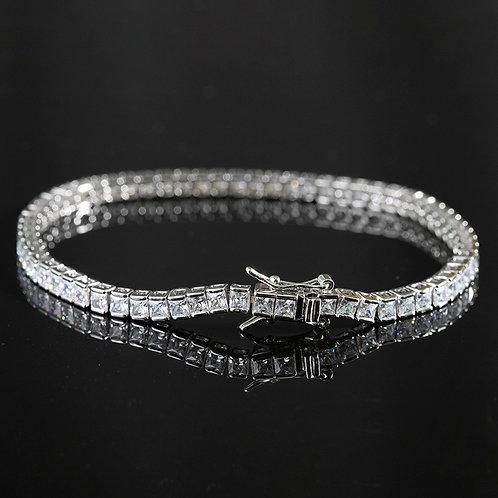 925 Sterling Silver bar set Princess cut Tennis Bracelet