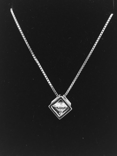 925 Sterling Silver and Cubic Zirconia Cube Pendant