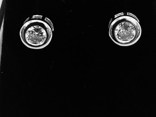 925.Sterling Silver and Cubic Zirconia Stud Earrings