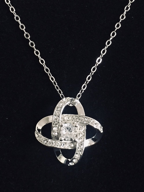 925.Sterling Silver Cubic Zirconia Knot Pendant