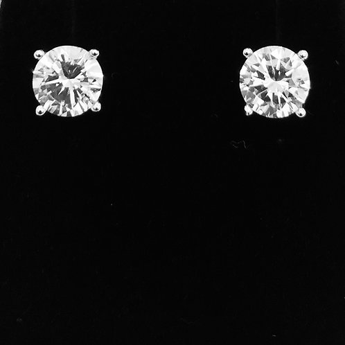 925 Sterling Silver and Cubic Zirconia Stud Earrings
