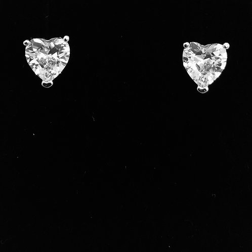 925 Sterling Silver and Cubic Zirconia Heart Earrings
