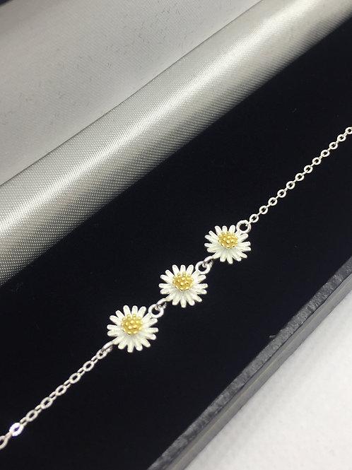 925 Sterling Silver Triple Daisy Bracelet