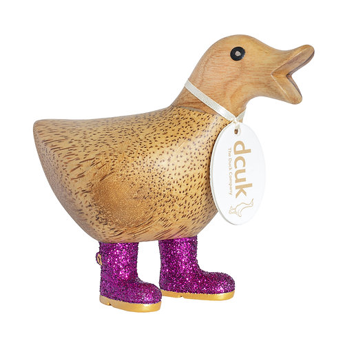 Disco Ducky with Sparkly Purple Welly Boots