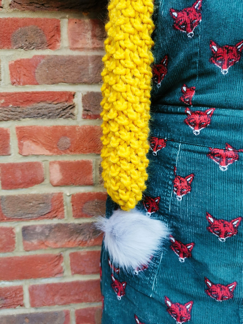 Mustard pompom scarf