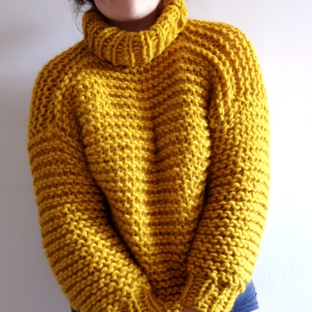 Turtle neck jumper in mustard yellow by