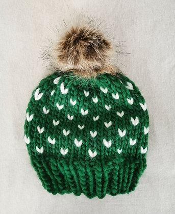 Pompom Beanie in Green and White Mini Tick