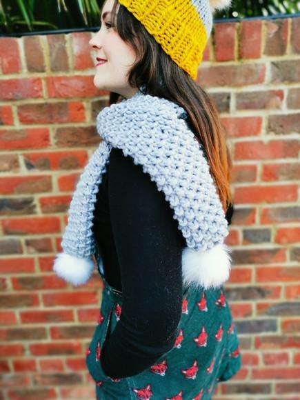 Grey pompom scarf