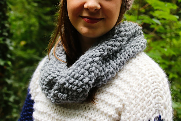 Grey Long Twisted Snood