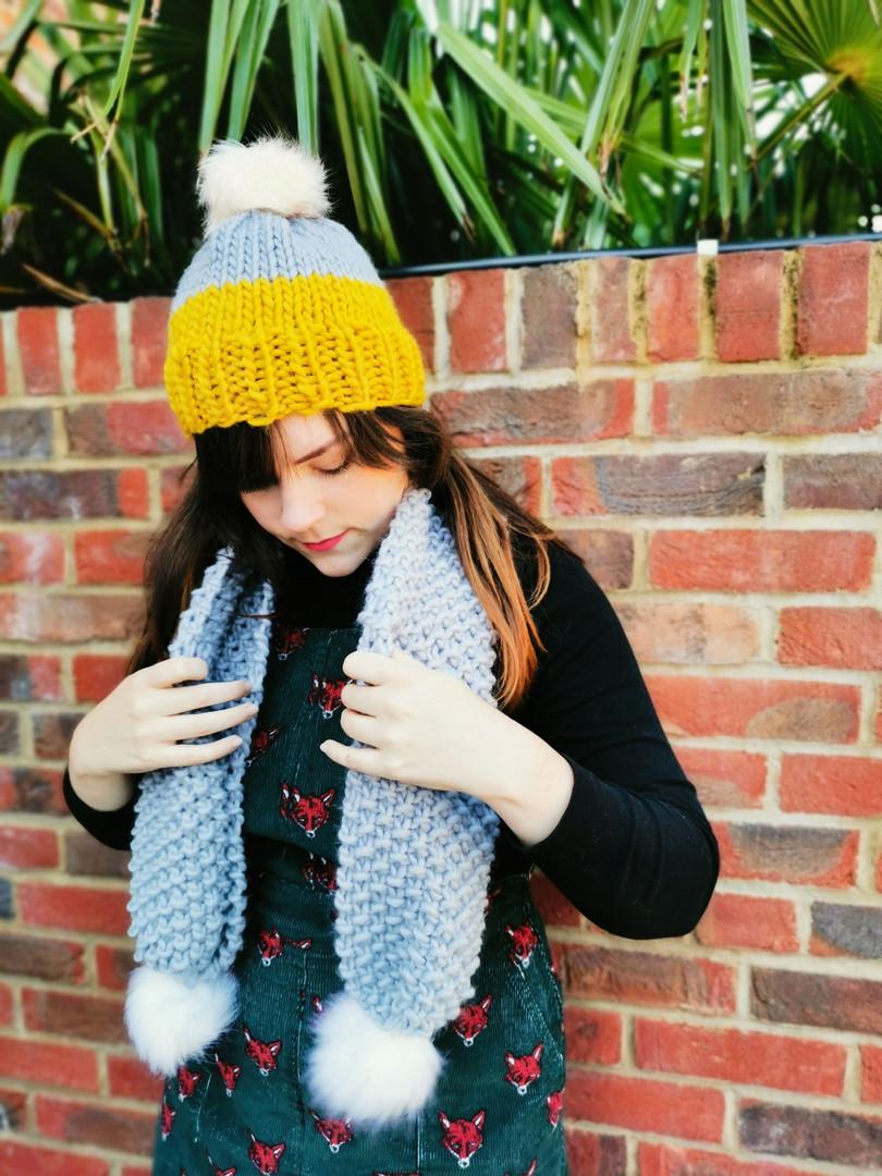 Pompom scarf with mustard and grey pompom beanie